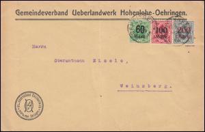 Württemberg Dienstmarken-MiF Brief OEHRINGEN 20.7.23 nach Weinsberg, INFLA-gepr.
