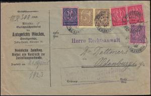 33+72+73+74 Dienstmarken auf Zustellungsurkunde MÜNCHEN-JUSTITZPALAST 20.4.1923