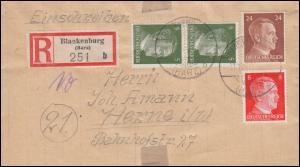 784+786+792 Hitler auf R-Brief BLANKENBURG / HARZ 11.11.44 nach HERNE 23.11.1944