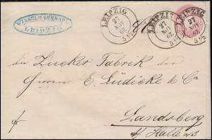 Sachsen 16a Wappen 1 Ngr. auf Brief von LEIPZIG 27.11.1867 nach Landsberg