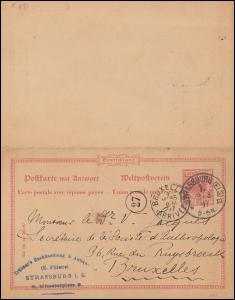 P 27/02 Doppelkarte mit DV 1295 f von STASSBURG/ELS. 8.3.1897 nach BRÜSSEL 9.3.
