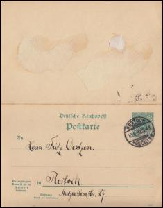 P 31a Doppelkarte ROSTOCK 10.8.1892 nach Rostock, Antwortkarte unbenutzt