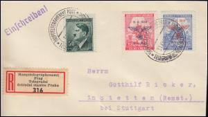 Böhmen und Mähren 83-84 Aufdruck MiF R-LDC HAUPTTELEGRAPHENAMT PRAG 31.12.42