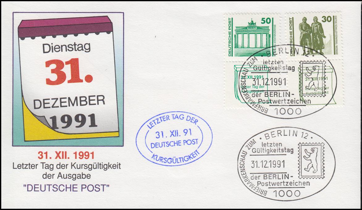Letzter Gültigkeitstag von DDR-Briefmarken SSt BERLIN 31.12.91 auf Schmuck-LDC 0