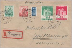 101-102 Berlin-Hilfe + 106-107 + Notopfer MiF R-Bf GÖTTINGEN 25.8.49 BPP-geprüft