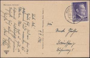75 Freimarke 12 Gr. auf Ansichtskarte Belweder WARSCHAU 9.9.1942