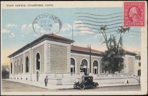 USA-Ansichtskarte Postamt von Stamford / Connecticut 1.2.1914 nach Frankreich