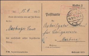 Infla-Notausgabe Gebühr-bezahlt-Stempel auf Postkarte CASSEL 18.9.23