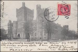 Ansichtskarte 74th Regt Armory BUFFALO N.Y. 22.1.1905  nach Frankreich