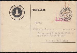 Infla-Notausgabe Gebühr-bezahlt-Stempel Postkarte SOEST 6.9.1923 nach Essen
