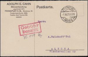 Infla-Notausgabe Gebühr-bezahlt-Stempel Postkarte FRANKFURT / MAIN 1.9.1923