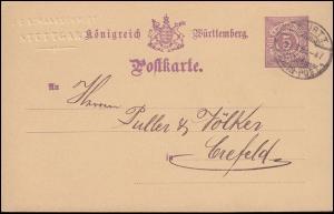 Postkarte P 26 IIa mit K. WÜRTT. BAHN-POST 29.10.86 von Stuttgart nach Crefeld