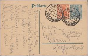 P 120 AI Germania 30 + Zusatzfr. OLDERSUM / OSTFRIESLAND 16.6.1921 nach Esens