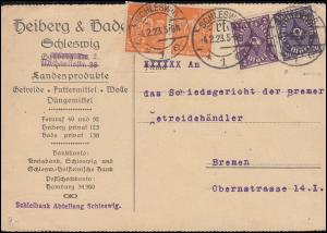 Infla-MiF Schnitter / Posthorn Postkarte SCHLESWIG 4.2.1913, INFLA-BPP-geprüft