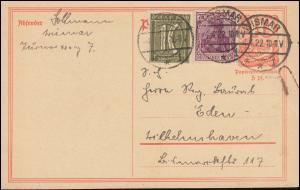 P 141I Postreiter mit Zusatzfrankatur als MiF WISMAR 4.4.1922, BPP-geprüft