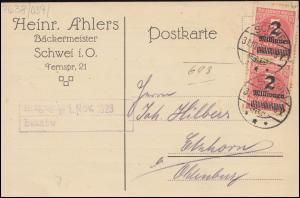 312A Infla-MeF auf Postkarte SCHWEI / OLDENBURG nach Elmhorn