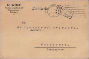 Infla-Notausgabe Gebühr-bezahlt-Stempel Orts-Postkarte MAGDEBURG 4.9.1923