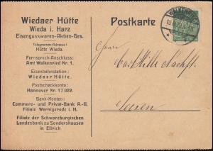244 Schnitter 40 Mark als EF auf Infla-Postkarte WALKENRIED 18.6.23 nach Seesen