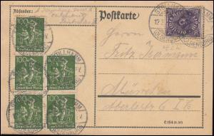 187+230 Infla-MiF auf Postkarte STOLLHAMM 12.2.1923 nach München