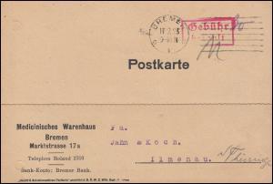 Infla-Notausgabe Gebühr-bezahlt-Stempel Postkarte BREMEN 19.9.1923 nach Ilmenau