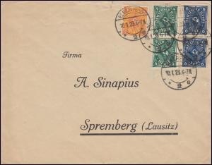 Infla-Brief mit 205+226+228 als MiF auf Brief ELBERFELD 10.1.23 nach Spremberg