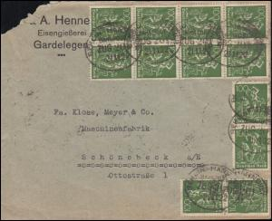 Infla-Brief mit 187 als MeF auf Brief mit Bahnpost Berlin-Hannover 21.11.1922