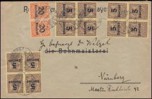 89+90 Dienstmarken-MiF auf Ortsbrief Reichseisenbahn NÜRNBERG 22.9.1923