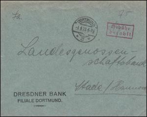 Infla-Notausgabe Gebühr-bezahlt-Stempel auf Brief DORTMUND 1.9.1923 nach Stade