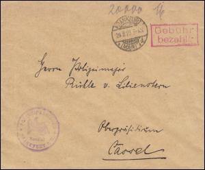 Infla-Notausgabe Gebühr-bezahlt-Stempel Brief Polizei FRANKFURT / MAIN 29.8.1923