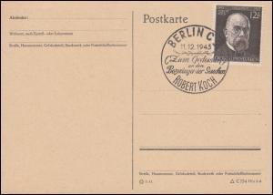 864 Robert Koch - Blanko-Postkarte mit SSt BERLIN Bezwinger der Seuchen 11.12.43