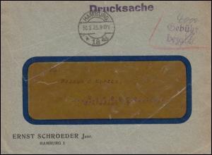 Infla-Notausgabe Gebühr-bezahlt-Stempel auf Drucksache HAMBURG 30.8.1930