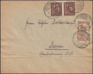 114+180 Infla-MiF auf Brief ELMSCHENHAGEN (KR. PLÖN) 6.5.1922 nach Bremen