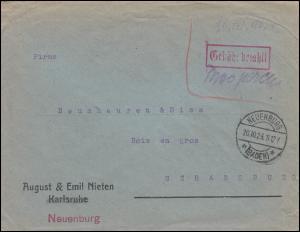 Infla-Notausgabe Gebühr-bezahlt-Stempel auf Auslandsbrief NEUENBURG 20.10.1923