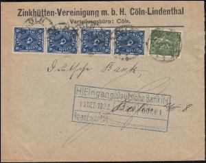 187+228W Infla-MiF Brief Zinkhütten CÖLN 10.12.22 an die Deutsche Bank in Berlin