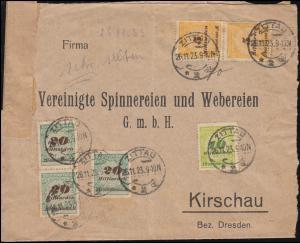 327A+328A+329A Infla-MiF Brief ZITTAU 26.11.1923 nch Kirschau / Dresden