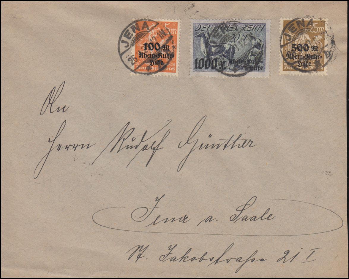 258-260 Rhein- und Ruhrhilfe-Satz auf Ortsbrief JENA 26.3.1923  0