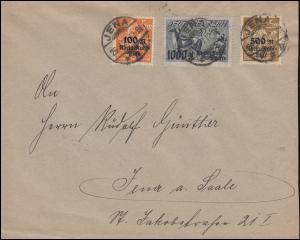 258-260 Rhein- und Ruhrhilfe-Satz auf Ortsbrief JENA 26.3.1923