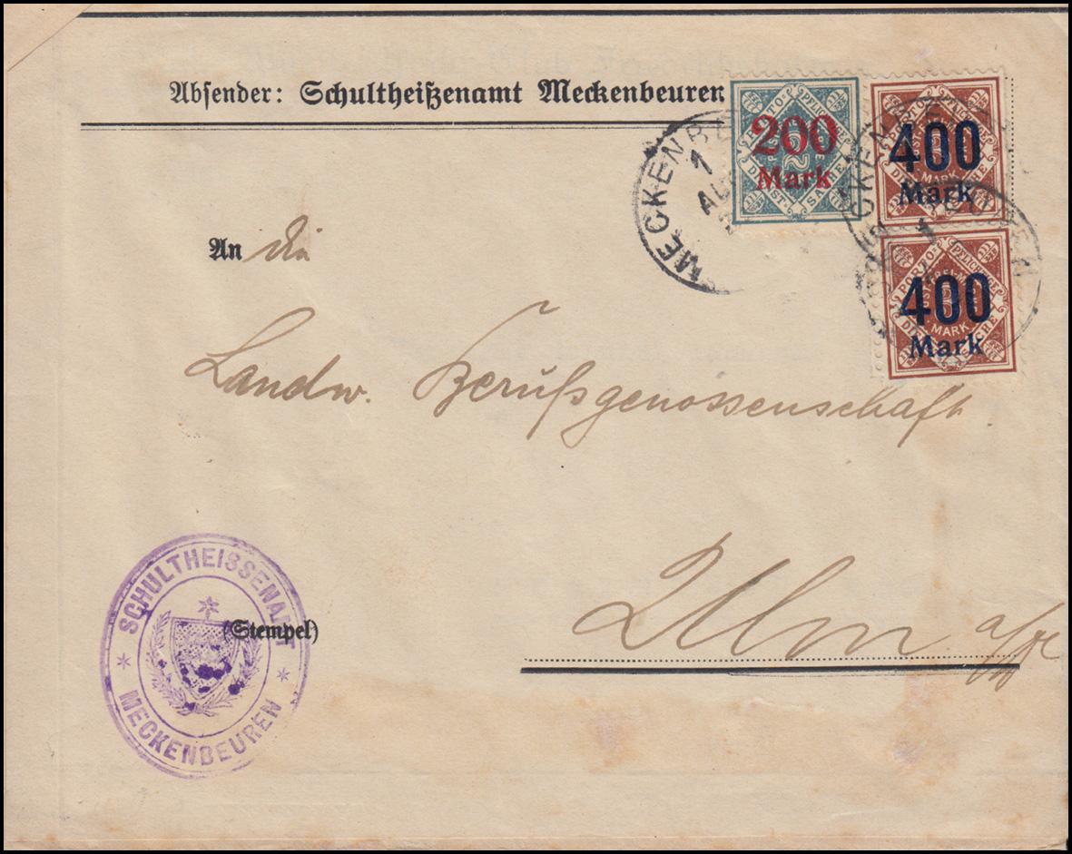 Württemberg 168+170 Dienst-MiF Bf. MECKENBEUREN 1.8.1923 nach Ulm, INFLA-geprüft 0