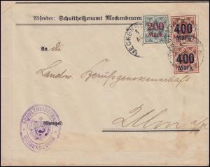 Württemberg 168+170 Dienst-MiF Bf. MECKENBEUREN 1.8.1923 nach Ulm, INFLA-geprüft