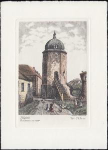 Nachdruck einer Radierung von W. Peters: Krefeld, Evertsturm um 1820