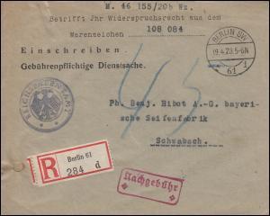 Dienstsache Reichspatentamt R-Brief BERLIN 19.4.28 1920 nach Schwabach