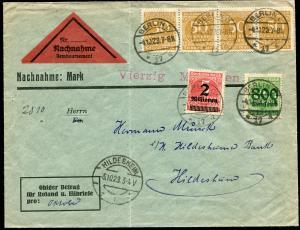 275+308+312A Infla-MiF auf NN-Brief BERLIN 4.10.1923 nach HILDESHEIM 5.10.23