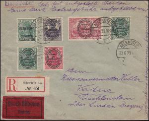 Allenstein 1+16+17+27 Aufdruckmarken-MiF auf Eil-R-Brief ALLENSTEIN 27.6.20
