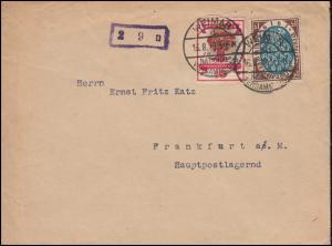 107+108 Nationalversammlung MiF auf Brief WEIMAR-NATIONALVERSAMMLUNG 16.8.1919