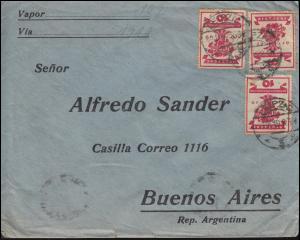 107 Nationalversammlung MeF auf Brief LEIPZIG 17.11.19 nach BUENOS AIRES 25.12.