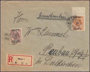 169+173 Aufdruckmarken auf R-Brief MEMEL / KLAIPEDA nach DIELKIRCHEN 8.5.1923