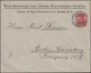 145aII Germania Brief Bund Dt. und Österr. Philatelisten-Vereine DRESDEN 24.3.21