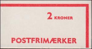 Dänemark Automaten-Markenheftchen 2 Kr Freimarken 1974 mit 328+556+570, **