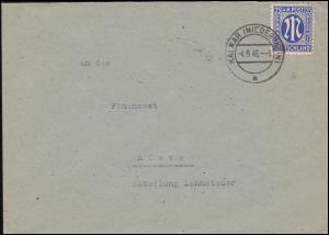9 AM-Post 25 Pf. auf Brief von KALKAR (NIEDERRHEIN) 4.5..46 nach Kleve Finanzamt