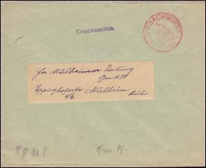 Drucksache mit rotem Einkreisstempel FEUERBACH/WÜRTT. 5.8. FRANCO nach Mühlheim